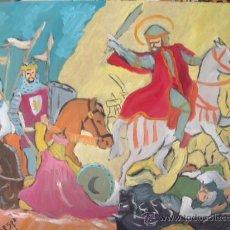Arte: SANTIAGO SE APARECE A RAMIRO III ,ÓLEO SOBRE MADERA, 50X60 CM. DE CRESPO. Lote 18713338