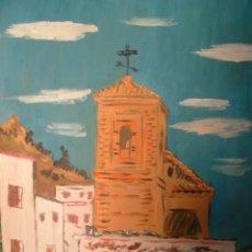 Arte: IGLESIA DE LUCAINENA , LA ALPUJARRA, 50X60 CM. ÓLEO SOBRE MADERA DE CRESPO. Lote 11964555