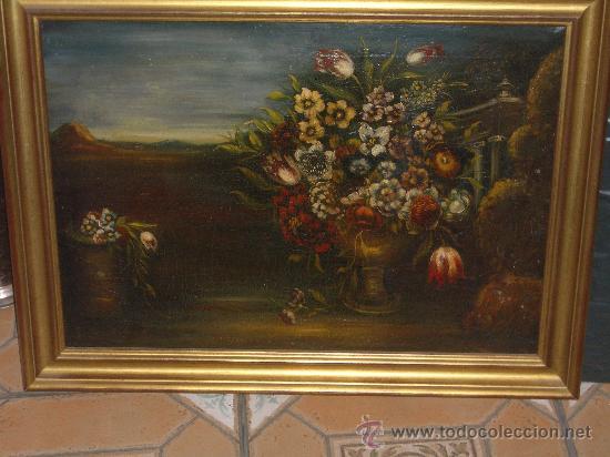IMPRESIONANTE ANTIGUO OLEO XVIII-XIX, BODEGON FLORES (Arte - Pintura - Pintura al Óleo Antigua siglo XVIII)
