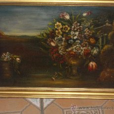 Arte: IMPRESIONANTE ANTIGUO OLEO XVIII-XIX, BODEGON FLORES. Lote 25719592