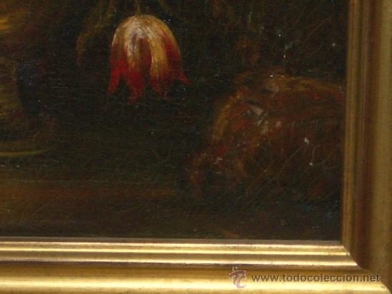 Arte: IMPRESIONANTE ANTIGUO OLEO XVIII-XIX, BODEGON FLORES - Foto 2 - 25719592