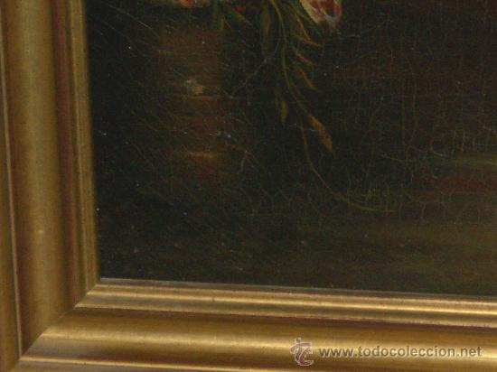 Arte: IMPRESIONANTE ANTIGUO OLEO XVIII-XIX, BODEGON FLORES - Foto 3 - 25719592