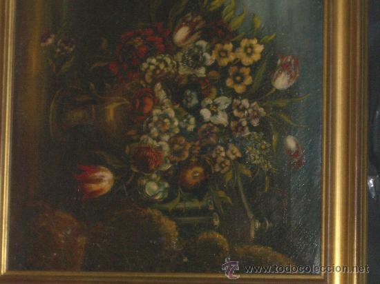 Arte: IMPRESIONANTE ANTIGUO OLEO XVIII-XIX, BODEGON FLORES - Foto 6 - 25719592