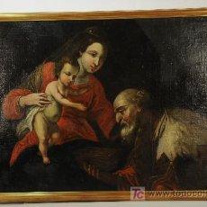 Arte: OLEO SOBRE TELA PEGADO SOBRE TABLA - ADORACIÓN (ANÓNIMO). SIGLO XVIII. Lote 26007500