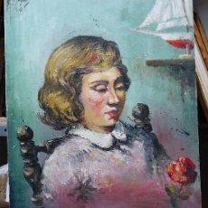 Arte: 1939.- OLEO SOBRE TELA CARTON 54X46. M.GARCIA SANTOS. RETRATO CHICA. Lote 24674624