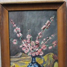 Arte: 1954.- OLEO SOBRE TELA 12X17. ANONIMO. FLORES. Lote 25525444