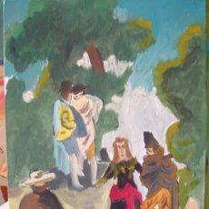 Arte: LA MAJA Y LOS EMBOZADOS, VERSIÓN DE GOYA , 30X40 CM. ÓLEO/LIENZO EN BASTIDOR DE CRESPO. Lote 15892700