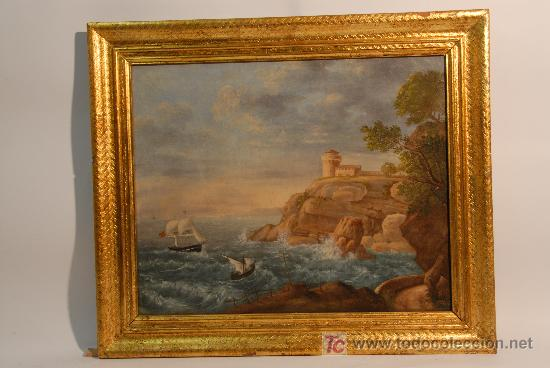 MARINA. OLEO SOBRE TELA ANONIMO. SIGLO XVIII (Arte - Pintura - Pintura al Óleo Antigua siglo XVIII)