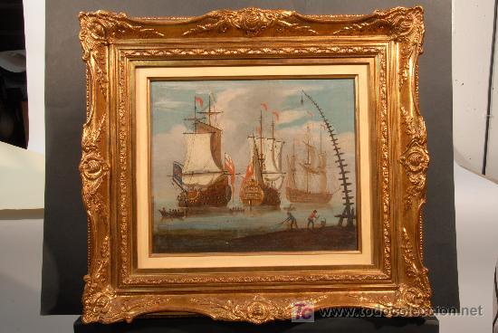 MARINA. OLEO SOBRE TELA ANÓNIMO. SIGLO XVIII (Arte - Pintura - Pintura al Óleo Antigua siglo XVIII)