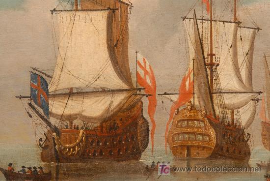 Arte: Marina. Oleo sobre tela anónimo. Siglo XVIII - Foto 3 - 12310296