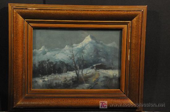 OLEO SOBRE TABLA PAISAJE NEVADO FIRMADO J. RICART (Arte - Pintura - Pintura al Óleo Moderna sin fecha definida)
