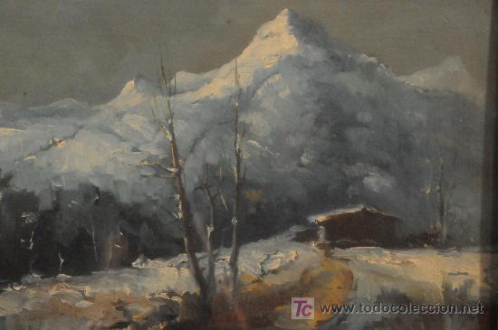 Arte: Oleo sobre tabla paisaje nevado firmado J. Ricart - Foto 2 - 12469096
