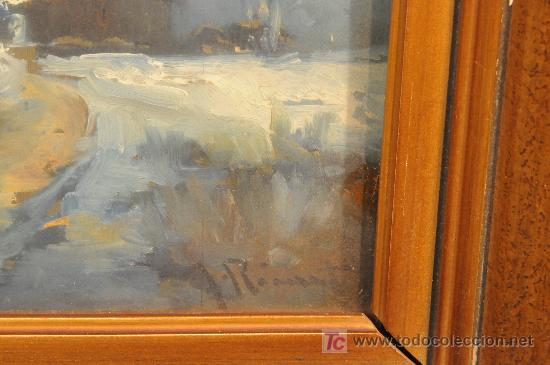 Arte: Oleo sobre tabla paisaje nevado firmado J. Ricart - Foto 3 - 12469096