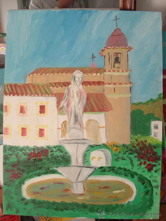 PECES EN LA FUENTE, TICES , ÓLEO LIENZO BASTIDOR 60X50 DE CRESPO (Arte - Pintura - Pintura al Óleo Contemporánea )