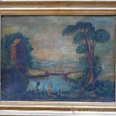 Arte: PAISAJE POPULAR, PRINCIPIOS S. XIX. ÓLEO SOBRE TELA, BASTIDOR NUEVO, REENTELADO.. Lote 25081896