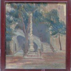 Arte: PATIO GÓTICO. POSIBLEMENTE PATIO HOSPITAL STA. CREU, BARCELONA. FIRMADO: CASTEDO, 1917. DEDICADO.. Lote 20654492
