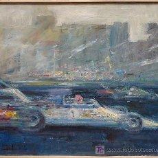 Arte: COCHE DE CARRERAS, FIRMADO LLAMPAYAS? 1976. ÓLEO SOBRE LIENZO 102 X 83 CM.. Lote 23356558