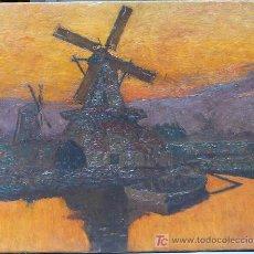 Arte: PAISAJE CON MOLINO. ÓLEO SOBRE TELA SIN FIRMAR DEL PINTOR: ERASMO LASARTE. 65 X 81 CM.. Lote 25058138
