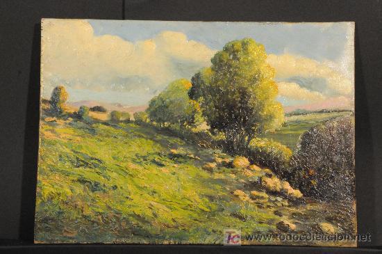 PAISAJE. OLEO SOBRE TABLA FIRMADO RAMON LARROSA. AÑO 1949 (Arte - Pintura - Pintura al Óleo Moderna sin fecha definida)
