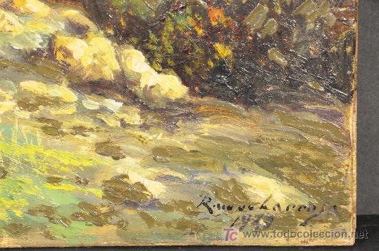 Arte: Paisaje. Oleo sobre tabla firmado Ramon Larrosa. Año 1949 - Foto 2 - 27438193
