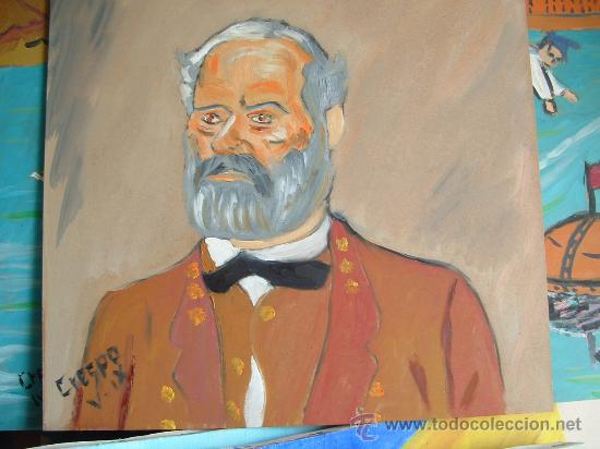 GENERAL LEE , ÓLEO SOBRE MADERA 40X40 CM. APROX, DE CRESPO (Arte - Pintura - Pintura al Óleo Contemporánea )