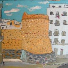 Arte: TORREÓN DE LA CARRERA DE ADRA , ÓLEO SOBRE MADERA, 60X50 CM, DE CRESPO. Lote 14623804