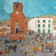 Arte: PLAZA DE OHANES CON LOS TOROS ENSOGAOS EL DIA DE SAN MARCOS 1,20X80 APROX. ÓLEO EN MADERA DE CRESPO. Lote 18622081