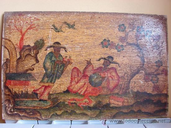 INTERESANTE PINTURA ANTIGUA CHINA. TEMA CHINO. SIGLO XVIII. DE MUSEO (Arte - Pintura - Pintura al Óleo Antigua siglo XVIII)