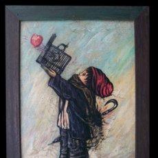 Arte: CUADRO -EL AMOR ES LA LIBERTAD. Lote 26819116