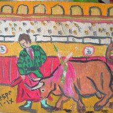 Arte: PASE DE MULETA , 30X24 CM. OLEOS SOBRE LIENZO EN BASTIDOR DE CRESPO. Lote 13782895