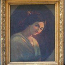 Arte: A. LEYGONIE. RETRATO DE DAMA, S.XIX. ÓLEO SOBRE LIENZO ENMARCADO EN MARCO DORADO, 43X54 CM. TELA. Lote 25597005