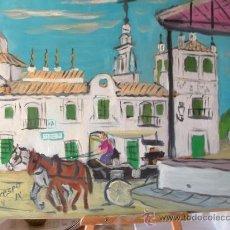 Arte: CASA MATRIZ DE ALMONTE ,ROCIO , 50X60 CM. ÓLEO SOBRE MADERA DE CRESPO. Lote 50686394