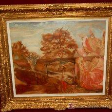 Arte: (FRANCESC DOMINGO) OLEO SOBRE CARTÓN DEL AÑO 1918 (PAISAJE NOUCENTISTA). Lote 27598032