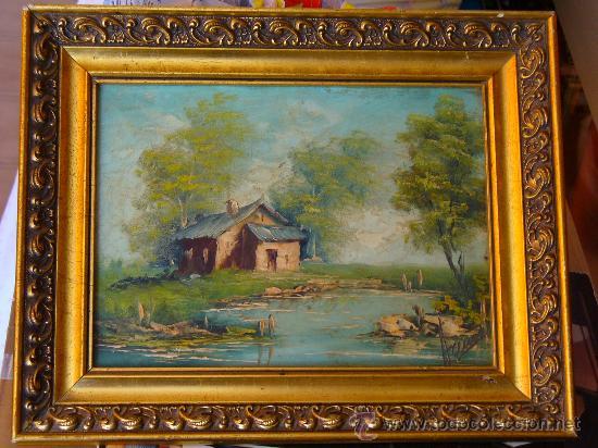Cuadro con paisaje casa de campo pintado en ma comprar for Enmarcar cuadros en casa