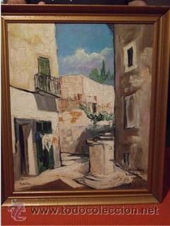 BONITO OLEO SOBRE TABLA AÑO 1961 CALLE SAN PEDRO PALMA DE MALLORCA PINTOR LYKKE VIGEN (Arte - Pintura - Pintura al Óleo Moderna sin fecha definida)