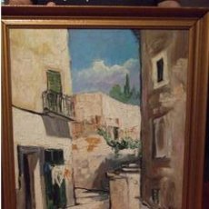 Arte: BONITO OLEO SOBRE TABLA AÑO 1961 CALLE SAN PEDRO PALMA DE MALLORCA PINTOR LYKKE VIGEN. Lote 25494575