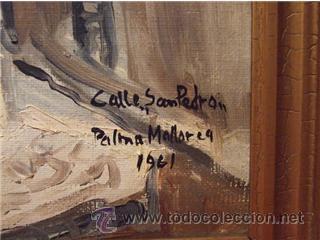 Arte: BONITO OLEO SOBRE TABLA AÑO 1961 CALLE SAN PEDRO PALMA DE MALLORCA PINTOR LYKKE VIGEN - Foto 3 - 25494575