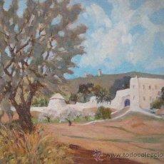 Arte: PAISAJE CON FIGURA Y PALMERAS DE LOS AÑOS 40. OLEO SOBRE CARTON 33X41 CM. Lote 27514790