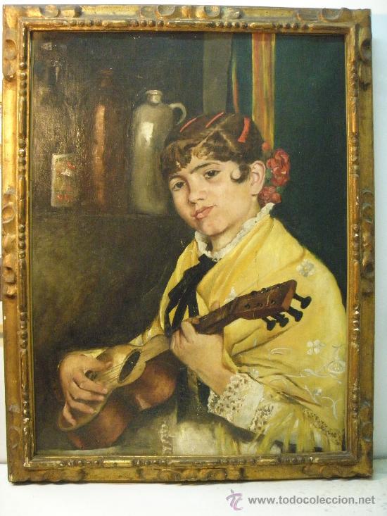 JOVEN CON GUITARRA DEL SIGLO XIX (Arte - Pintura - Pintura al Óleo Antigua sin fecha definida)
