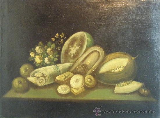 BODEGON DE FLORES Y FRUTOS DEL XIX (Arte - Pintura - Pintura al Óleo Moderna siglo XIX)