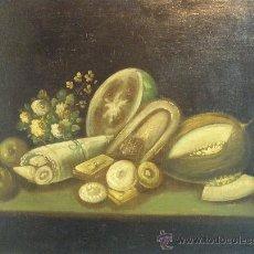 Arte: BODEGON DE FLORES Y FRUTOS DEL XIX. Lote 27300735