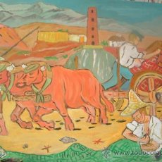 Arte: LOS BUEYES TIENDEN LA RED , ÓLEO SOBRE MADERA 80X60 CM. DE CRESPO. Lote 15081233