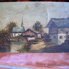 Arte: CIRCA DE 1900 ÓLEO PINTURA SOBRE TABLA PAISAJE 32X18. Lote 26954198
