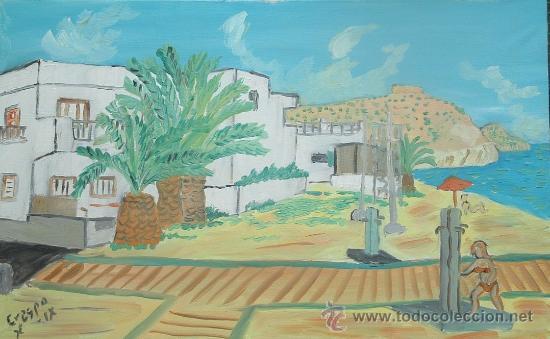 AGUA AMARGA ,CABO DE GATA ALMERÍA ,ÓLEO SOBRE LIENZO EN BASTIDOR 60X45 APROX. DE CRESPO (Arte - Pintura - Pintura al Óleo Contemporánea )