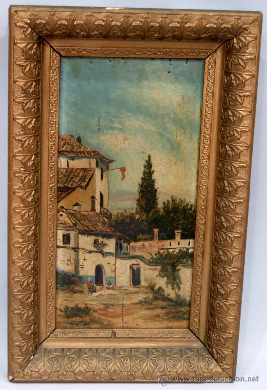 ÓLEO SOBRE TABLA PAISAJE COSTUMBRISTA ANDALUZ S XIX (Arte - Pintura - Pintura al Óleo Moderna siglo XIX)