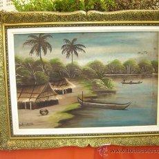 Arte: PINTURA AFRICANA, MARCO MADERA DORADA. Lote 15617287