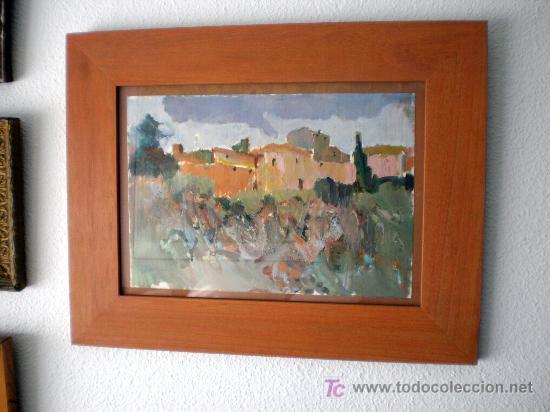 Arte: Óleo sobre papel. Paisaje con casas. Iranzo - Foto 3 - 15804364