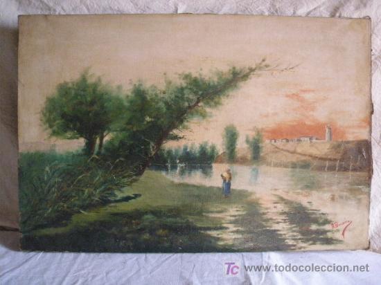 PAISAJE CON FIGURA FIRMADO R. BENEDICTO (Arte - Pintura - Pintura al Óleo Moderna sin fecha definida)