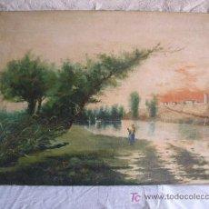 Arte: PAISAJE CON FIGURA FIRMADO R. BENEDICTO. Lote 26902614