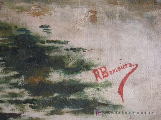 Arte: PAISAJE CON FIGURA FIRMADO R. BENEDICTO - Foto 3 - 26902614